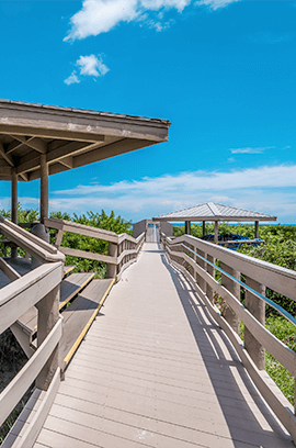 The wooden walkway that stands near our St. Augustine beach vacation rentals.